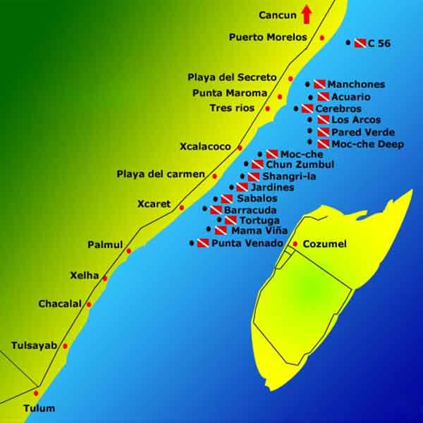 Dive sites in Playa del Carmen